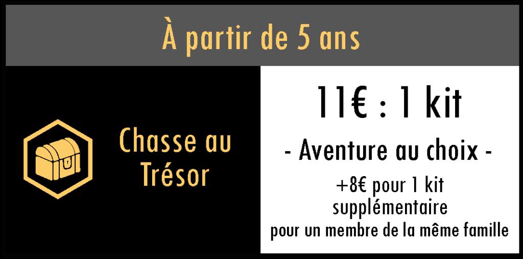 Chasse au trésor : 11€ pour 1 kit